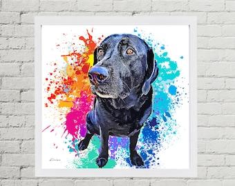 Black Lab Pet Portrait, Custom Pet Portrait, Personalized Labrador Retriever Digital Pet Painting from Photo, Pet Memorial, Pet Loss Gift