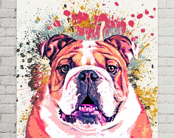 Dog Portrait Custom Painting from Photo |  Custom Pet Canvas | Bulldog Painting | Colorful Decor | Unique Pet Gift | Pet Memorial Art | Dog