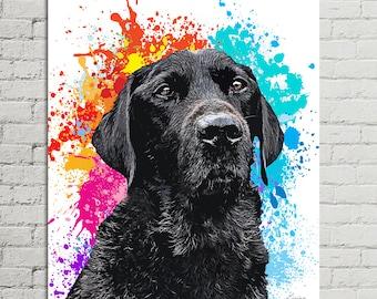 Pet Portrait Canvas, Custom Pet Canvas, Portrait from Photo, Dog Painting Canvas, Pet Portrait Canvas, Pet Painting Canvas, Black Lab Art