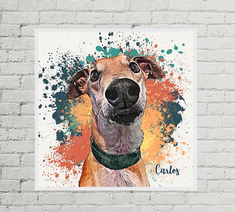 Pet Memorial Gift Pet Loss Gift Dog Art Custom Pet Portrait on Canvas or Print Modern Pet Portrait from Photo Pet Portrait from Photo