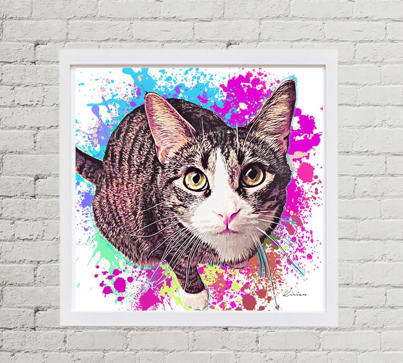 Cat Custom Paintings Personalized Pet Painting of Cat Cat image 0