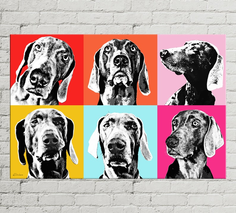 Custom POP Art Pet Portrait Andy Warhol Style POP Art Canvas image 0