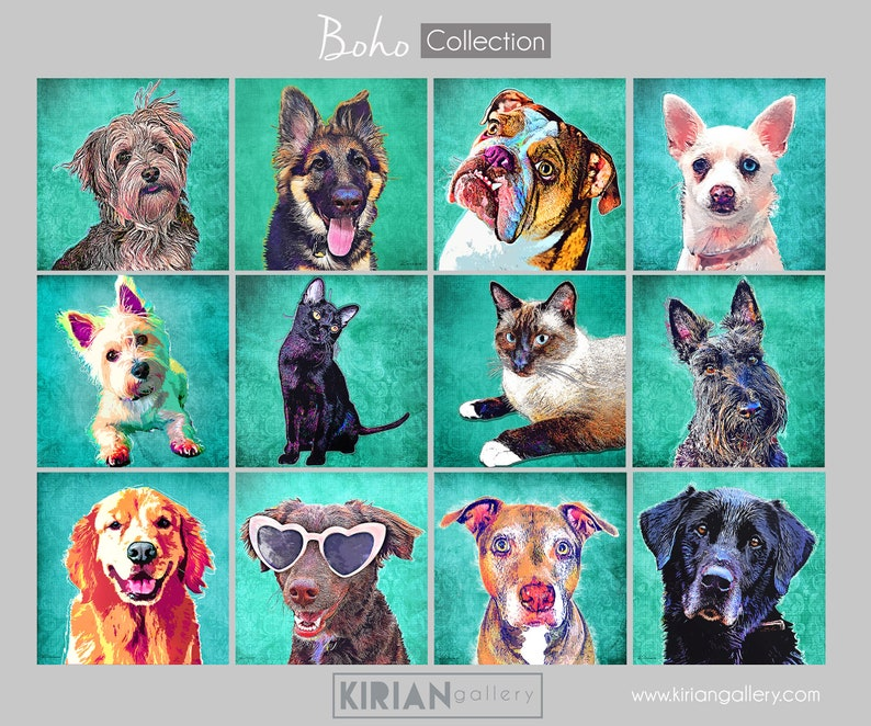 Custom Pet Portrait on Canvas Customized Painting from Photo image 0