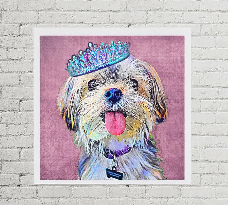 Royal Pet Portrait with Princess Crown  Custom Pet Portrait image 0