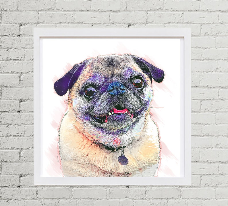 Pug Watercolor Pet Portrait Chirstmas Gift Idea Gift for image 0