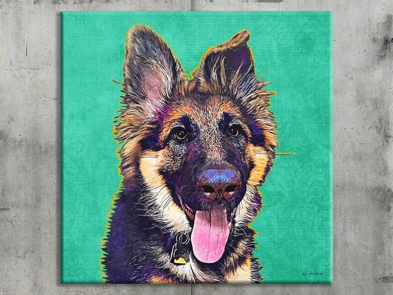 German Shepherd Custom Pet Portrait on Canvas Dog Pop Art image 0