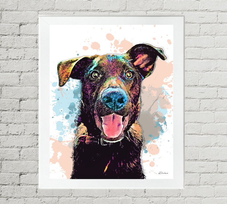 Black Labrador Retriever Pet Portrait Custom Dog Pop Art  image 0
