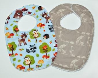 Baby Boy Bibs - Woodland - Baby Bibs - Deer Owl Bear Fox