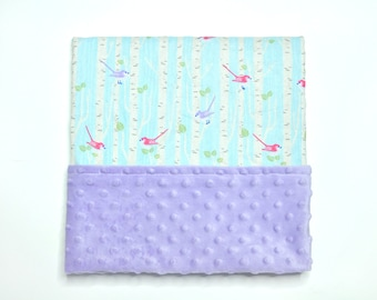 Birch Tree Baby Blanket - Birds - Baby Blanket - Purple pink