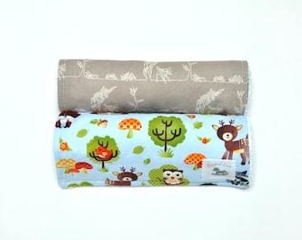 Boy Burp Cloths - Woodland - Burp Cloths - Deer Owl Fox Bear