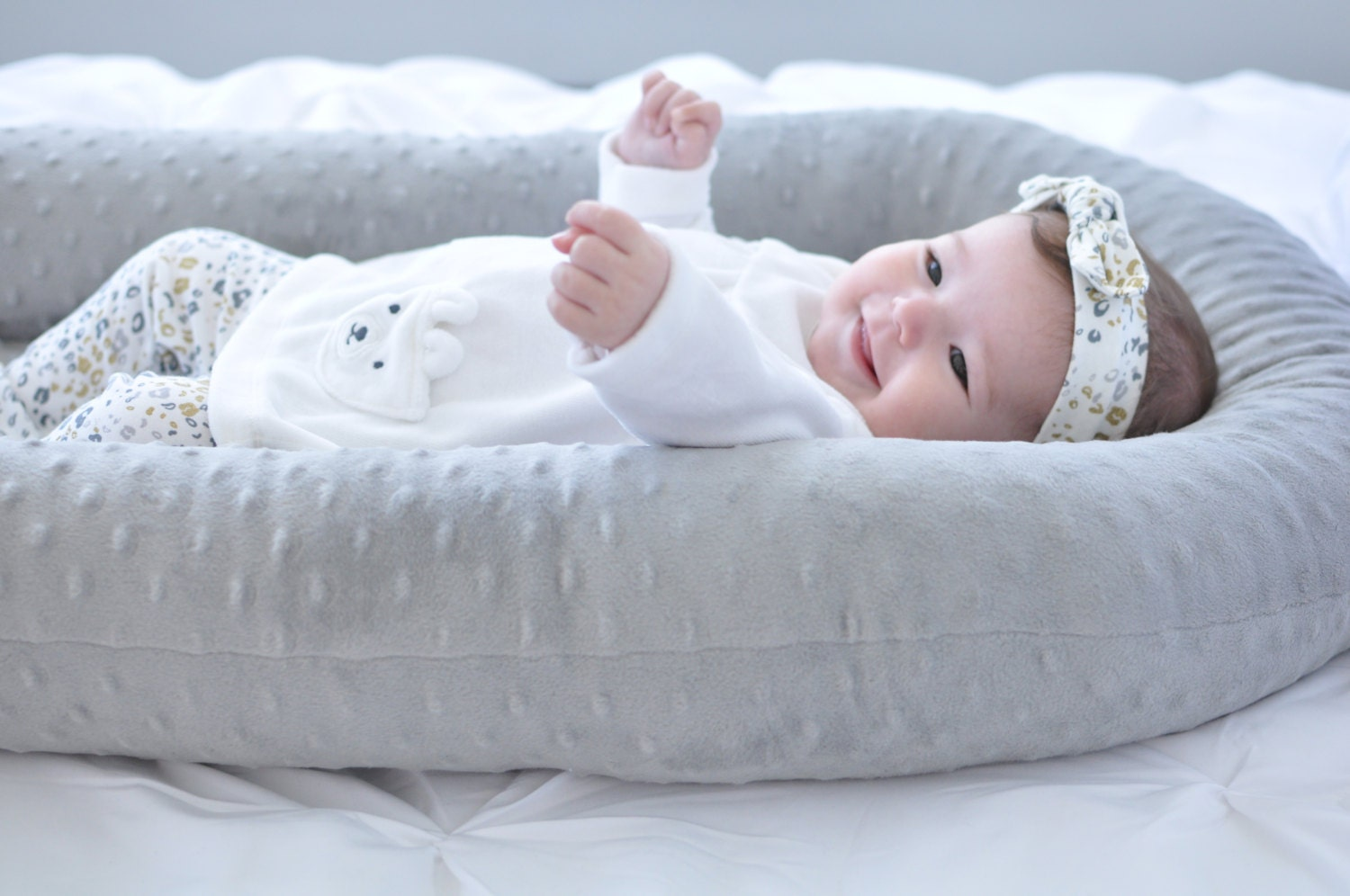 Genial Cosleep Baby Bed   White And Gray   Cosleeping   Baby Pillow   Sleep  Transition   Cradle Me Pillow