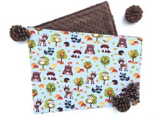 Woodland Baby Blanket - Brown Minky - Woodland Blanket - Deer Fox Owl Bear