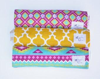 Burp Cloth Set - Aztec - Burp Cloths - Pink and Yellow
