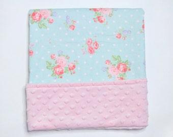 Floral Baby Blanket - mint - baby blanket - minky
