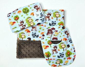 Baby Woodland Gift - Rustic - Baby Gift - deer fox owl bear