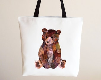 Personalised bear cub tote bag, Double sided bear tote bag, High quality bear tote bag, Animal lover birthday gift, Reusable bear cub bag