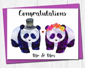 Panda wedding card, Mr and Mrs wedding card, Congratulations wedding card, Bride and groom card, Unique panda card, Cute engagement card
