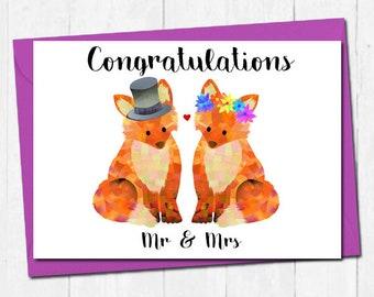 Wedding card, Fox wedding card, Mr and Mrs wedding card, Bride and groom card, Wedding day card, Congratulations card, Unique wedding card