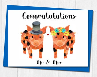 Micro pig wedding card, Mr and Mrs wedding card, Cute wedding card, Bride and groom wedding card, Cute congratulations wedding card,