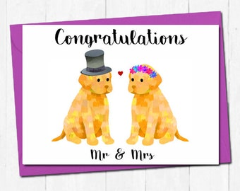 Cute labrador wedding card, Mr and Mrs wedding card, Congratulations wedding card, Bride and groom wedding card, Dog lover wedding card