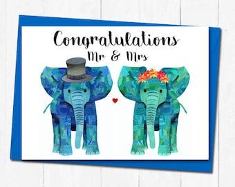 Elephant wedding card, Unique wedding card, Mr and Mrs card, Cute congratulations wedding card, Elephant bride and groom wedding card