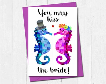 Seahorse wedding card, Bride and groom card, Mr and Mrs card, Cute wedding card, You may now kiss the bride card, Seahorse marriage card