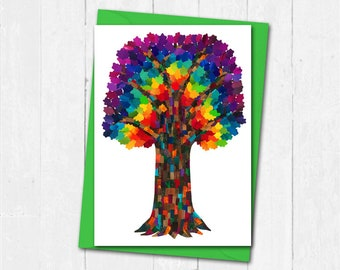 Rainbow Tree Card Greeting Blank Of Life Collage Art Birthday Friendship