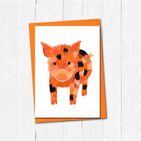 Miniature Piglet Blank Greeting Card Cute Pig Lovers Any Occasion Birthday Card