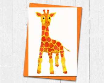 Giraffe card, Baby giraffe card,Giraffe lover card, Giraffe birthday card, Giraffe greeting card, Cute giraffe card, New baby giraffe card