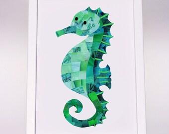 Seahorse print, A4 A3, Seahorse wall art, Unique collage art, Colour choice, Nursery decor, Nautical decor, Childrens decor, Cute animal art