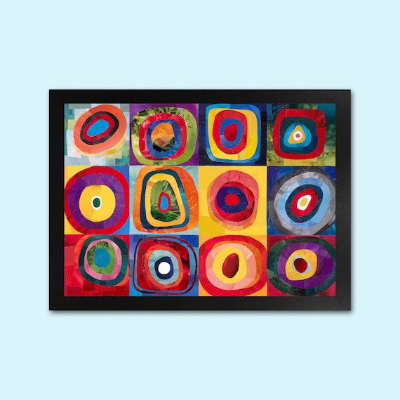 Bright Print Abstract Art Kandinsky Art Print Squares With Concentric Circles Paper Collage Print Happy Colour Wall Art A3 A4 Print