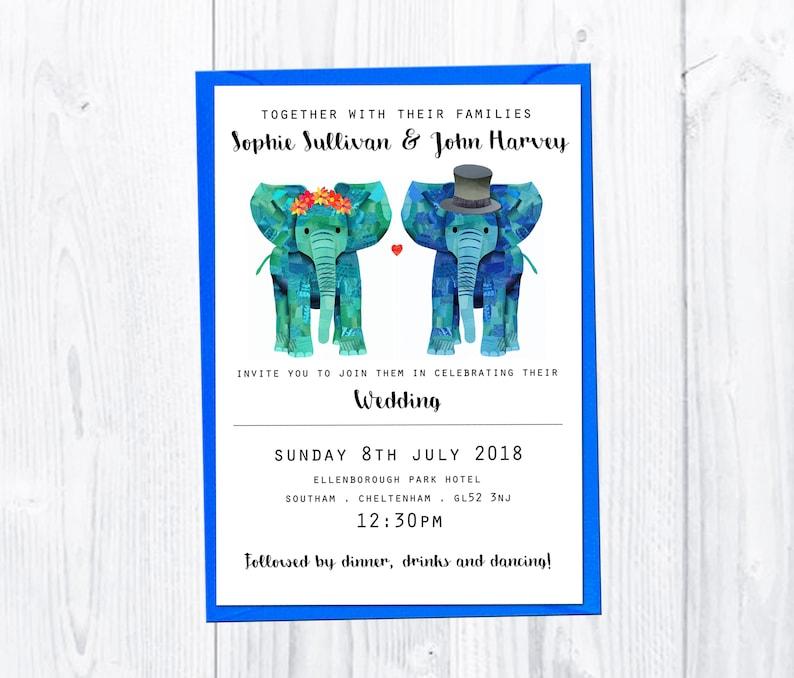 Unique customised wedding invitation Gay lesbian wedding invitation Save the date card Elephant wedding stationery set Wedding rsvp card