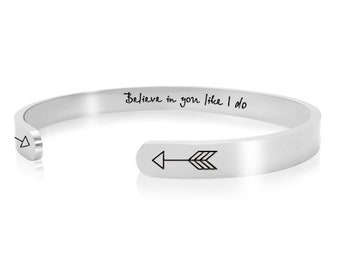 Motivational Jewelry Gifts for Women Teen Girls Inspirational Bracelet No Excuses Positive Quote Message Mantra Cuff Bangle