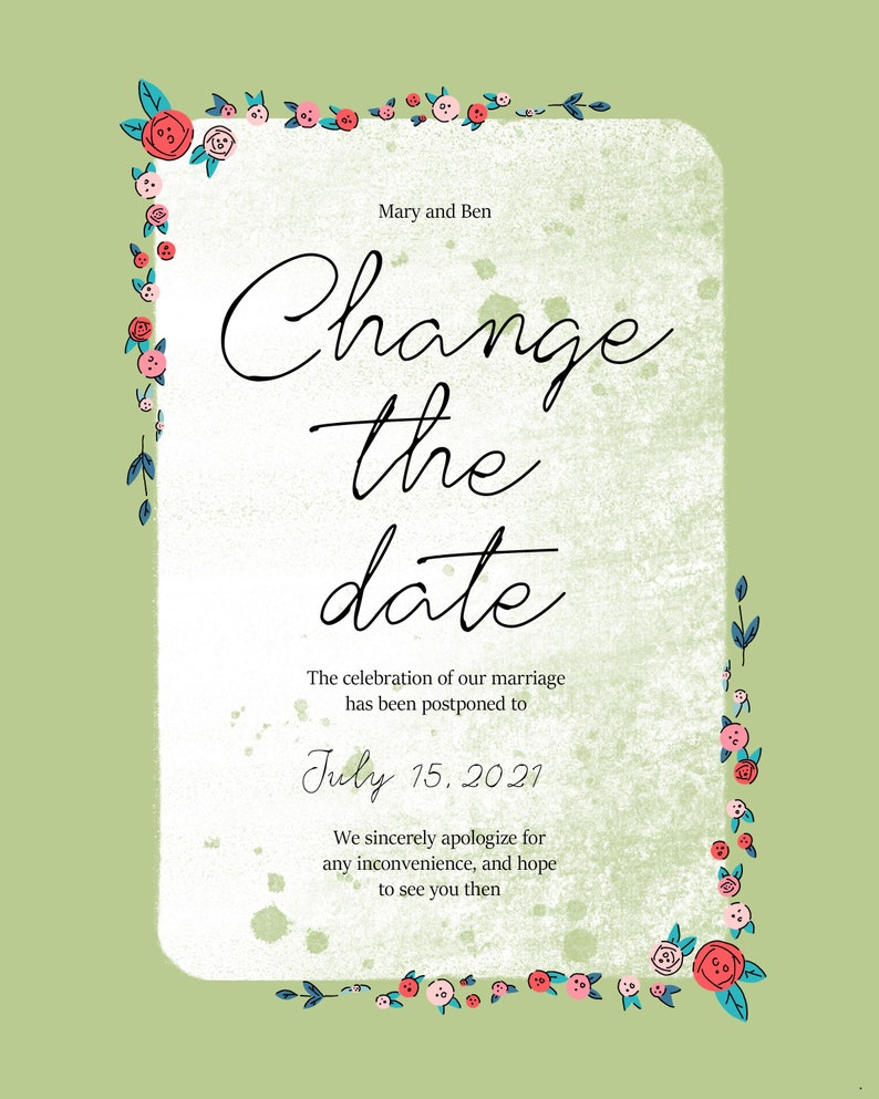 Wedding postponement card and change of date and plans