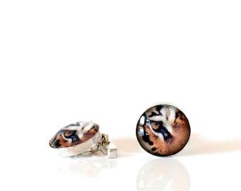 Tiger Cufflinks, Sterling Silver, Chain Style, SJ299
