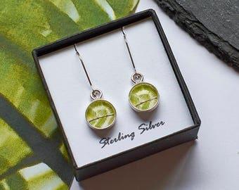 Fern Earrings, Drop Earrings, Dangle Earrings, Silver Fern Earrings, Leaf Earrings, Botanical Jewelry, Green Drop Earrings, Woodland Wedding