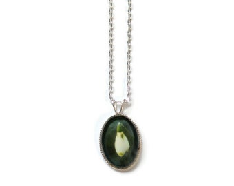 Snowdrop Necklace, Sterling Silver Oval Pendant, SJ398