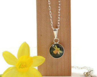 Daffodil Necklace, Sterling Silver Flower Pendant, Nature Jewellery made from miniature photographs,  SJ401