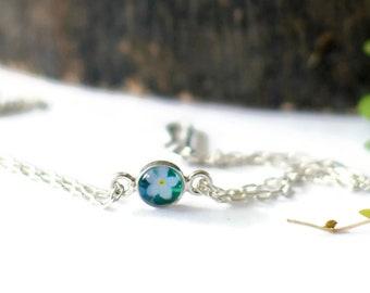 Forget Me Not Flower Bracelet, Sterling Silver, Adjustable, Nature Jewellery