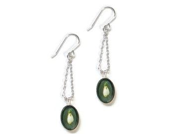 Snowdrop Earrings, 925 Sterling Silver Flower Dangle Earrings, SJ399