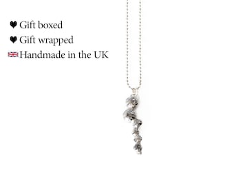 Recycled Silver Abstract 'Caterpillar' Necklace, 925 Sterling Silver, Eco Jewellery