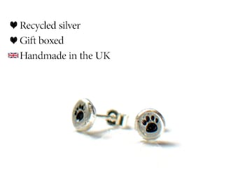 Pawprint Stud Earrings, Recycled 925 Sterling Silver, Gift Boxed
