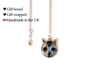 Tabby Cat 'Ears' Necklace, Sterling Silver Cat Necklace, Gift Boxed, SJ373
