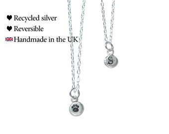 Personalised Pawprint Necklace, Reversible, Recycled Sterling Silver