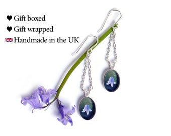 Bluebell Earrings, 925 Sterling Silver Dangle Earrings, SJ332