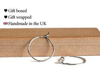 Small Silver Hoop Earrings, 925 Sterling Silver, 1.5cm  / 15mm / 1/2 inch