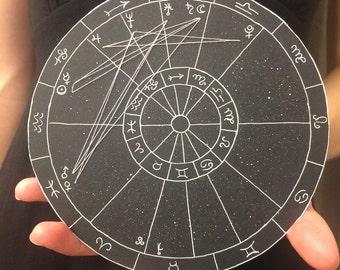 Custom Drawn Astrological Chart, large