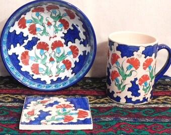 Turkish mug, bowl and coaster set--hand thrown hand painted Kutahya ware