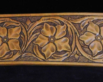 Sheridan style bracelet-- hand tooled and carved leather