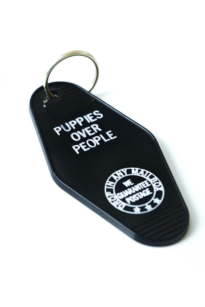 puppies over people key tag goth dog owner gift